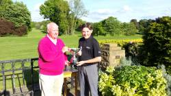 Sam Bissell winner  junior div1 net trophy presented by  Ian Macmaster
