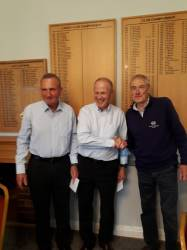 Winners Brian Cheshire (OGC) and Roger Weaving (Ombersley GC) with John Jarvie (Competition Organiser)