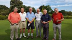 Autumn Texas Scramble - 2016 - The winners, Ian Major, Graham Siddle & Richard Lea stand alongside Capt Brian Warren and John Molesworth & Brian Walker