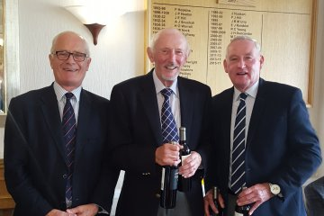 At the September 100's Competition, the winners, Tony Turner and David Playdon,  received their prizes, from Sponsor Peter Siddall, and Bob Standley, who was unwell on this occasion.